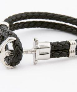 Designový kožený HOPE náramek v kombinaci černé kůže a stříbrné kotvy