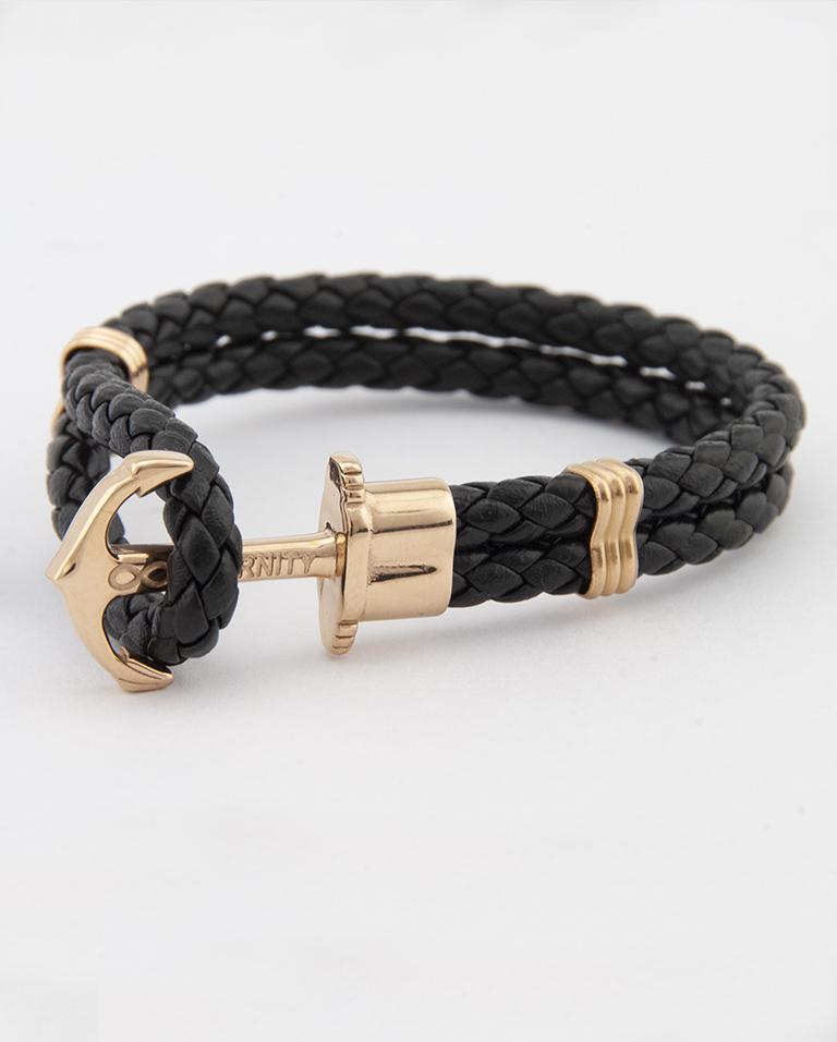 Designový kožený HOPE náramek v kombinaci černé kůže a zlaté kotvy