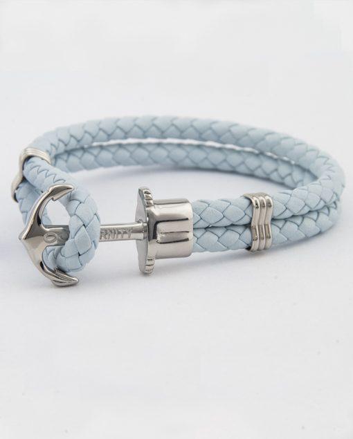 Designový světle modrý kožený HOPE náramek v kombinaci světle modré kůže a stříbrné kotvy