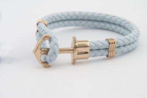 Designový kožený HOPE náramek v kombinaci světle modré kůže a zlaté kotvy