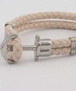 Designový kožený HOPE náramek v kombinaci světle růžové kůže a stříbrné kotvy
