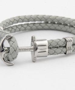 Designový světle šedý kožený HOPE náramek v kombinaci světle šedé kůže a stříbrné kotvy